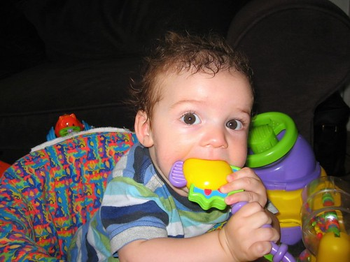 Finn chewing on his exersaucer