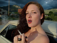 SuperKat (taosbam) Tags: girls wild woman usa hot newmexico color cute eye girl beauty fashion flesh clouds fire us model eyes women skin contemporary babe smoking flame american brenden babes taos jemison