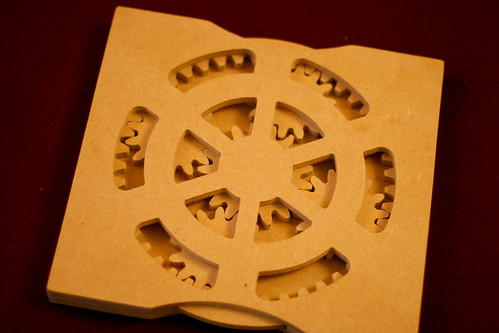 "Planetary gears cut from 1/4"" MDF"