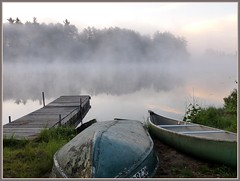 Boats in fog (yooperann) Tags: morning camp mist up clouds sunrise reflections boats dock michigan rustic canoe upper rowboat peninsula basslake yooper gwinn magicunicornverybest