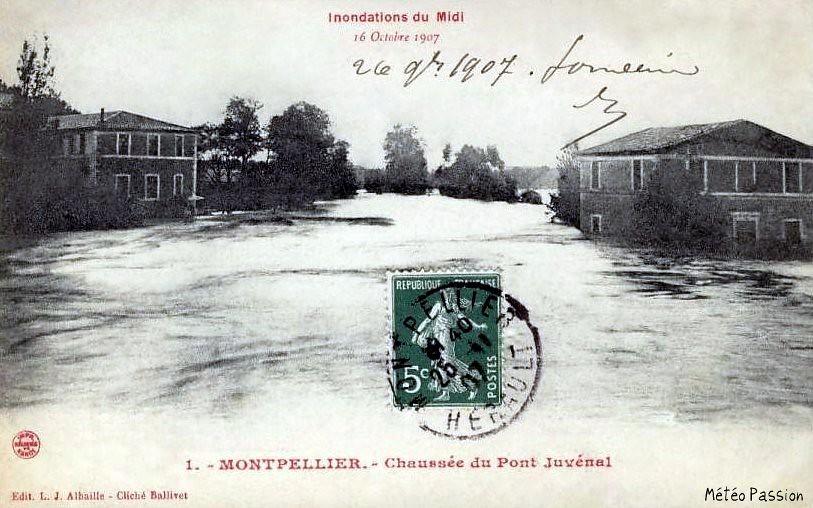 crue du Lez au pont Juvénal à Montpellier le 16 octobre 1907