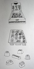 Chocolate sketch (ilovecakedoyou) Tags: white black ink sketch sweet box drawing chocolate chocolates retro quirky