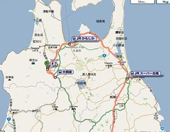 Map from Hachinohe to Hirosaki
