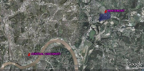Mariemont and Cincinnati (image by Google Earth, polygon by APA, labels by me)