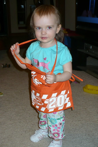 daughter wearing apron