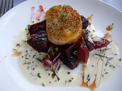 Seared Jumbo Scallop with Grand Marnier Scented Roasted Beets and Chive Cream Sauce
