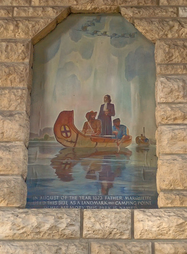Pere Marquette State Park, in Grafton, Illinois, USA - painting of Father Marquette