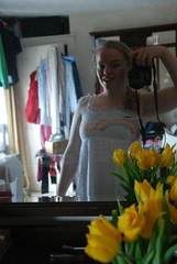 dress number 1 (*Nom & Malc) Tags: woman selfportrait reflection girl weather mirror tulips clothes newdress whitedress yellowtulips shoppingspree njp newdresses selfportraitinamirror