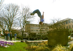 laid out in the sunshine (joecooke) Tags: fun layout jump jumping upsidedown yorkshire teen flip freerunning trick civiccentre donny teenage huddersfield wilko youths laidout tricking gainer freerunner tricker flaxxik