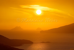 The Golden Skelligs :: Magical Places in Ireland by Madeleine Weber :: Sunset, mist, fog, the skelligs, skellig michael, ballinskelligs Bay (* Madeleine Calaido Weber * - calaido.com) Tags: ireland sunset red irish orange mist misty fog landscape island landscapes intense stock foggy eire license waterville romantic celtic colourful licensing countykerry ringofkerry skelligmichael iveraghpeninsula theskelligs ballinskelligsbay irishlight scattifotografici greatskelligs