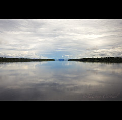 transboundary waters - Amazonas ( Tatiana Cardeal) Tags: travel brazil sky reflection nature water gua brasil digital river amazon horizon dream 2009 amazonas brsil amazonia amazonie rionegro worldwaterday immensity agenda21  waterresources   transboundarywaters