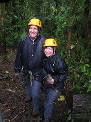 Heading off to zip-line in the rain