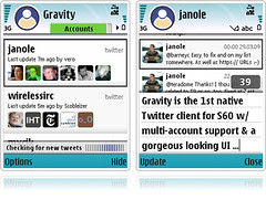 mobileways.de » Gravity - The S60 Twitter Client