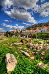 The Roman Forum in Athens (5ERG10) Tags: blue portrait sky white green sergio grass clouds photoshop greek temple ancient nikon ruins roman stones forum wideangle athens foro romano greece grecia handheld column marbles acropolis remains hdr highdynamicrange agora doric scattered attica d300 rubbles hellenic 3xp photomatix atene sigma1020  tonemapping  amiti 5erg10 galinggood iliketotagotherpeoplesphotos sergioamiti