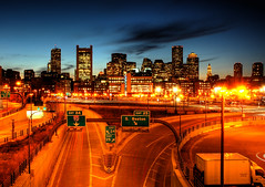Downtown Boston *E#1 (Craig Stevens <castevens12>) Tags: longexposure night landscape highway downtown cityscape nightshot massachusetts nighttime bostonma hdr highdynamicrange tstation exit25 cartrails route93 bcec tedwilliamstunnel worldtradecenterboston southbostonwaterfront anawesomeshot bostonconventionandexpositioncenter