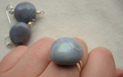 faux Labradorite - ring and earrings 2