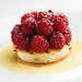fresh raspberries with lemon tuiles, cream cheese ice cream and nobo fruit tea syrup