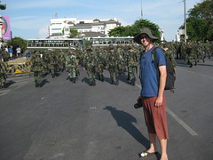 57 - Getting as close to the army as possible to take photos of the Red Shirt protests