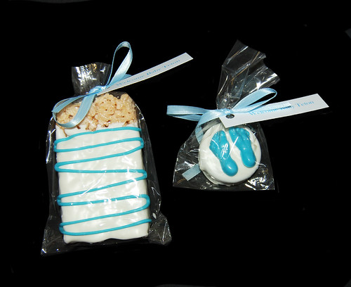 white and blue chocolate dipped baby shower favors