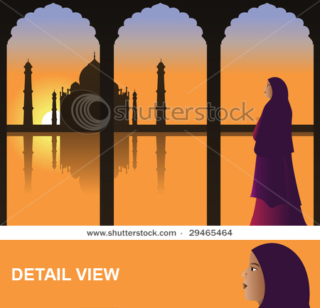 Bibidesign's - Woman in Traditional Sari Dress looking at Taj Mahal