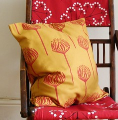 yellow protea cushion (jezzee) Tags: linoleum handprinted blockprinted