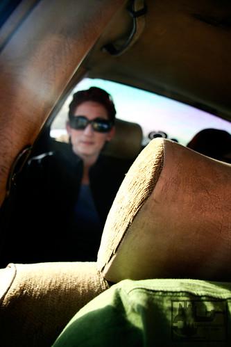 Danielle in the Grand Taxi