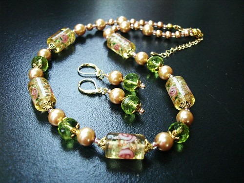 "#GBN090+E = GOLDEN DREAMS N+E Set SGD$35  = Beautiful  Golden Yellow  lampwork Tube Beads , Olive Green Rondelle Crystal Beads , Golden Glass Pearls accented with Gold  Plated Metal Findings. Necklace measures about 16-18"" in lenght with 2"" Extension Chain / Earrings approx 4-5cms including hooks."