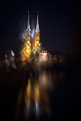 the light fantastic (moionet) Tags: light night cathedral towers motionblur wroclaw terrypratchett lightfantastic wrocaw katedra breslau stjohnthebaptist moionet swjanchrzciciel blaskfantastyczny