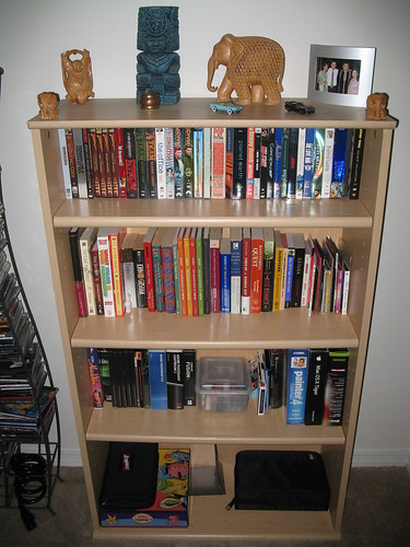 newly organized bookshelf (it was a mess before this photo was taken)