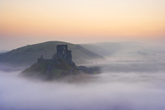 corfe castle mist (antonyspencer) Tags: uk travel england mist castle english tourism misty sunrise landscape dawn ancient national dorset trust corfe