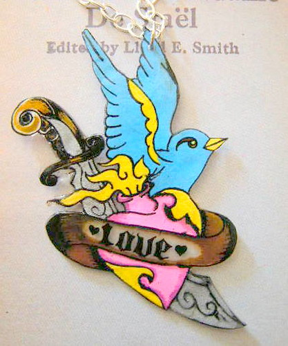 Traditional Swallow Tattoo Necklace. Bright colored swallow pendant
