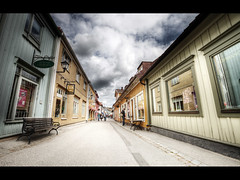 Sigtuna main street (Kaj Bjurman) Tags: street sky clouds buildings eos town sweden center 5d sverige 2009 hdr kaj mkii markii sigtuna cs4 photomatix bjurman