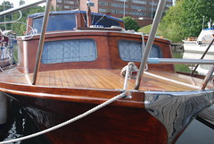 Polished Wood (Let Ideas Compete) Tags: wood city beautiful boat town wooden shiny sweden swedish rope deck bow scandinavia cruiser sdertlje polished scandinavian sdertalje sodertalje beautifulwoodboat