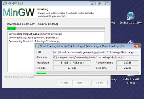 MinGW installer downloading components