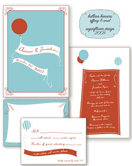 balloon-banners-coral&tiffa (Sugarflower Design) Tags: blue wedding red orange coral french aqua banner balloon invitation ribbon tiffany stationery rsvp