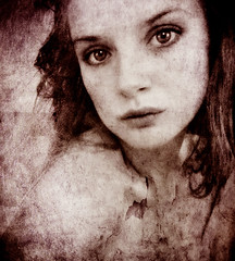 roses (phosfelis) Tags: old portrait bw woman white black texture broken girl beautiful face sepia female self denmark webcam intense eyes young babe lips phosfelis selfportraitsunlimited robertsartgallery