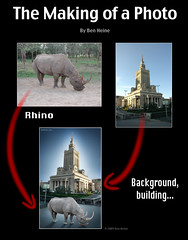 "Photomontage - ""Rhino Downtown"" (Ben Heine) Tags: africa travel light shadow wild sun reflection nature colors sepia photoshop season landscape photography countryside frames mac scenery glow colours photographie time nikond70 kenya earth geometry lumire couleurs quality magic details shapes philosophy manipulation harmony poet photoediting planet photomontage terre trick portfolio conceptual curve paysage tones technique wacom retouching tutorial edit rendering beforeafter specialeffects kleuren postprocessing avantaprs trucs digitalshot benheine effetsspciaux graphicenhancement editingtools tablettegraphique hubertlebizay hubzay flickrunited rhinodowntown"