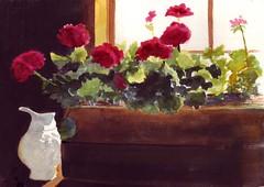 Window Flowers Watercolor Painting (BunnysWatercolors) Tags: floralart watercolorpainting