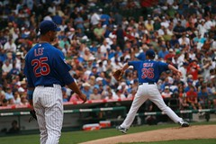 D Lee watches Randy Wells warm up (mikepix) Tags: chicago baseball cleveland indians cubs wrigleyfield 2009 bullpinbox