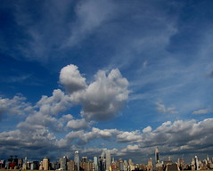 NYC looking up ...   :) (**Ms Judi**) Tags: nyc blue sky cloud newyork beautiful skyline clouds buildings cityscape awesome bluesky explore magical bigapple explored msjudi judistevenson judippc newyorkcitylookingup cloudscapeny