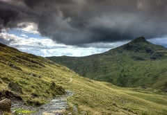 Snowdonia: View to Mt. Aran (Tim Blessed) Tags: uk sky mountains nature wales clouds landscapes countryside scenery singlerawtonemapped