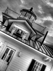 Roanoke Marshes Lighthouse (hburrussiii) Tags: sky blackandwhite bw lighthouse canon island is nc northcarolina powershot roanoke outer outerbanks hdr banks obx s5 marshes manteo 3xp photomatix banx