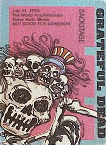 Grateful Dead backstage pass - 7/21/90 World Music Theatre, Tinley Park, Illinois [borrowed from www.psilo.com]