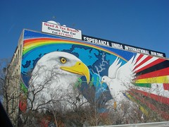 """""""Mural of Peace"""" originally painted by Reynaldo Hernandez is Milwaukee's most prominent mural, occupying the southern façade of Esperanza Unida. ~Photo Michael Timm"""