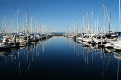 reflections at the marina (.leila) Tags: seattle morning blue winter sky usa snow mountains reflection nature water america marina boats outside outdoors unitedstates walk olympicpeninsula pacificnorthwest northamerica wa pugetsound washingtonstate fasting goldengardenspark shilsholebaymarina thefast