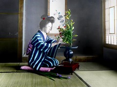 ARRANGING FLOWERS in OLD JAPAN (Okinawa Soba (Rob)) Tags: old glass japan t hand post photographs colored lantern slides tinted recovery 1923 enami ressurection nobukuni
