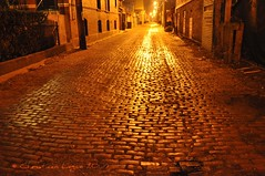 cobblestone alley, Chicago (christiaan_25) Tags: light chicago golden alley shiny long nightlights bricks perspective cobblestone explore lit 387 gointothelight mywinners northlincolnpark nikond90 fbdg krazykool 1stplacef2fchallenge nikond90club 11march2009 bestofmywinners