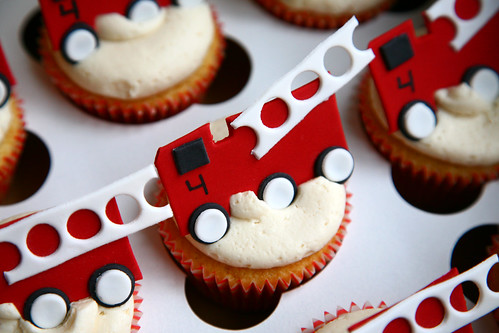 Fire truck cupcake close up