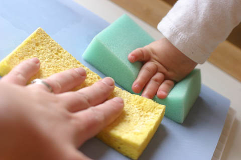 sponging paper