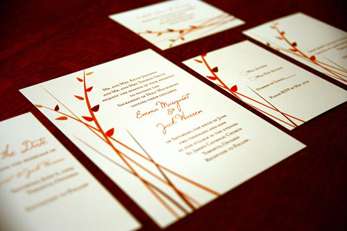 Leaved Branch Wedding Invitations, Leaved branch design wedding cards, wedding invitation, flowers, photos